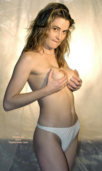 Topless With White Panties , Topless With White Panties, Nipples Visible, Hand Full