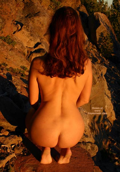 Redhead In Nature - Nude In Nature, Rear View , Redhead In Nature, Rear Shot, Barefeet, Squatting On Rocks