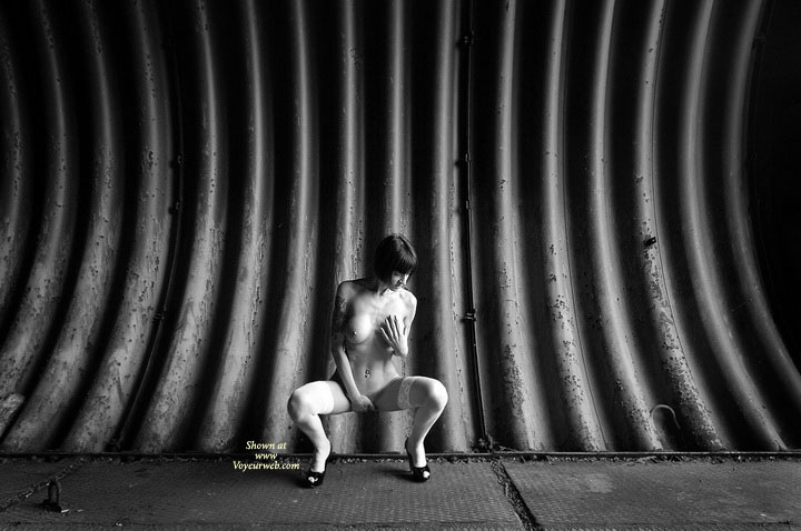 Posing For Sexy Photos - Black Hair, Heels, Naked Girl, Nude Amateur , Artistic Shot, Artistic Squating Nude, Black And White, Hand Over Pussy, Looking Down, Black & White Shot, Subway Tunnel, Artistic Bw Shot, Hand Covering Crotch, Hand On Breast