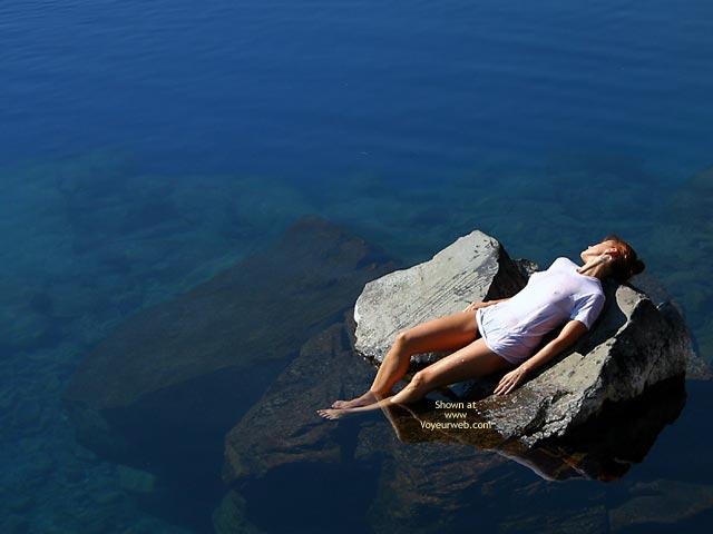 Girl On A Rock In The Ocean - Artistic Nude, Sunbathing , Girl On A Rock In The Ocean, Artistic Shot, Wet T-shirt, Sunbathing