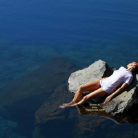 Girl On A Rock In The Ocean - Artistic Nude, Sunbathing , Girl On A Rock In The Ocean, Artistic Shot, Wet T-shirt, Sunbathing