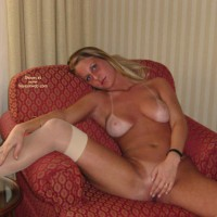 Nude Girl Lounging - Spread Legs, Stockings , Nude Girl Lounging, White Stockings, Spreading Legs, Extreme Tan Lines, Very Spread Legs, Covering Pussy With Her Hand