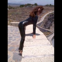 Latex Catsuit On The Beach