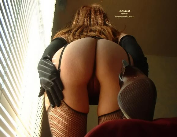 Rear View Looking Up - Gloves , Rear View Looking Up, Black Fishnet Stockings, Black Gloves