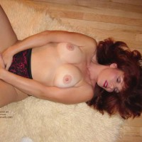 Red Head  Red Panties On Floor Rug , Red Head  Red Panties On Floor Rug