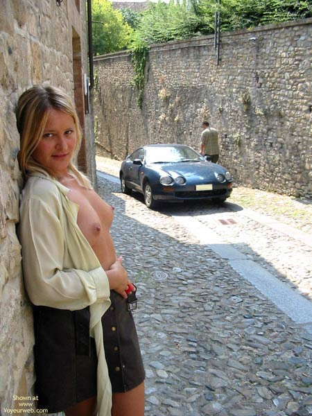 Nude In Public - Nude In Public, Sultry Look , Nude In Public, Sultry Look, Headlights, Posing On Street, Perky Breast Profile, Leaning Back On Wall With Tits Out
