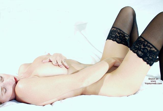 Black Stockings - Hard Nipple, Stockings, Touching Pussy , Black Stockings, Touching Nipple, Touching Pussy, Black Silk Stockings, Erect Hard Nipple, Female On Back Masturbation, Lying On Back