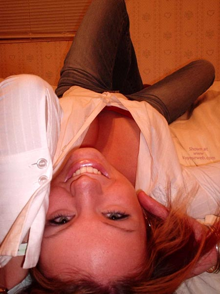 Brunette Laying Across The Floor - Jeans , Brunette Laying Across The Floor, Down Blouse, Jeans, White Shirt