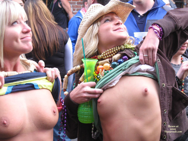 Mardi Gras Flashers - Blonde Hair, Flashing, Small Breasts , Flashing For Beads, Blond Flashers, Happy Smiling Faces, Outdoor Tits, Pink Areolas, Flashing Breasts Upwards To Stage, Large Erect Nipples