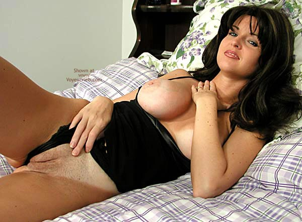Pic #1 Nadine Poses in Her Black Lingerie and Panties