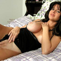 Nadine Poses in Her Black Lingerie and Panties