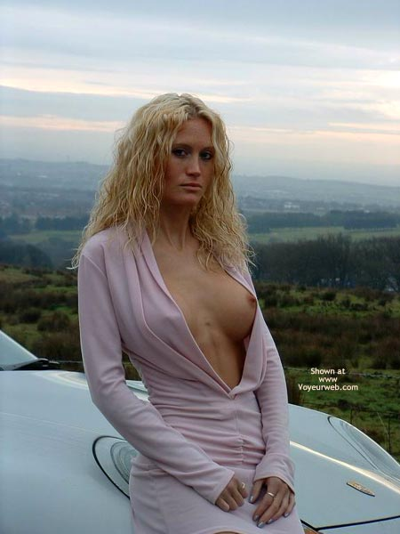 Sultry Look - Sultry Look , Sultry Look, One Exposed Breast, Posing By Car, Pink Dress, Open Pink Dress