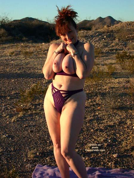 Nude In The Desert - Bikini, Redhead , Nude In The Desert, Redhead, Thick Thighs, Big Boob, Violet Bikini, Womanly Hips