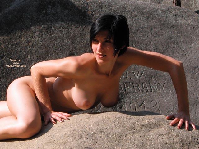 Short Dark Hair , Short Dark Hair, Nude On Rocks, Outside On Rocks, Tits Hanging