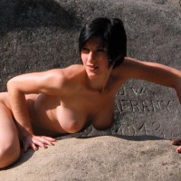 Short Dark Hair , Short Dark Hair, Nude On Rocks, Outside On Rocks, Tits Hanging