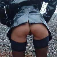 Bottomless Only - Bend Over, Sexy Ass , Bottomless Only, Pussy Visible Between Legs, Bottomless Outdoors, Bent Over, Black Leather And Stockings, Ass Shot, In Front Of A Fence, Commando
