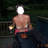 Backyard Girl Grilling Out at Various Times 1