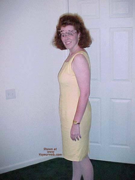 Pic #1 Redhead Housewife In Yellow Dress 1
