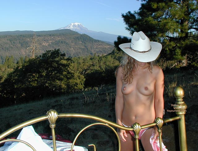 Checkered Panties - Cowboy Hat , Checkered Panties, Cowgirl Brass Bed Outdoors, Country Girl, Mount St. Helens, Red And White Thong, White Cowboy Hat