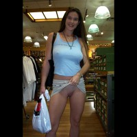 Seriously  Dude  I M Not Wearing Panties - Nude In Public, Shaved Pussy , Seriously  Dude  I M Not Wearing Panties, Shaved Pussy, Nude In Public, Showing Shaved Pussy In Public, Beige Skirt, Blue T Shirt, Black Bag