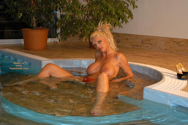Blonde With Big Tits - Spread Legs, Titties , Blonde With Big Tits, Legs Spread, Topless In Spa, Hot Tub Titties