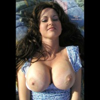 Topless Facial Of A Girl - Brunette Hair, Long Hair, Showing Tits , Topless Facial Of A Girl, Brunette, Very Big Boobs, Blue Summerdress, Exposed Tits, Long Hair