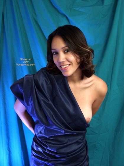 Blue Sari , Blue Sari, Playful Nimp, Posed Nude, Boob Exposed, Brunette In Blue Wrap, Blue Satin Sheet, Brunette In Blue