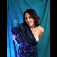 Blue Sari , Blue Sari, Playful Nimp, Posed Nude, Boob Exposed, Brunette In Blue Wrap, Blue Satin Sheet, Brunette In Blue
