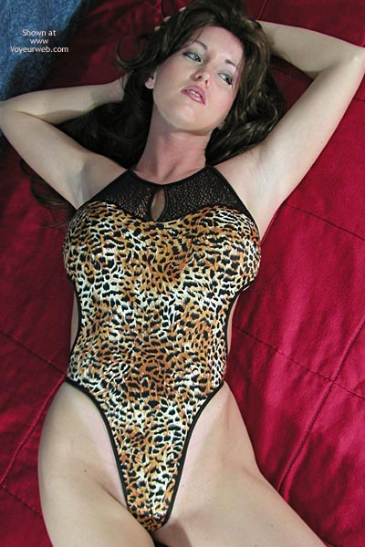 Pic #1Nadine Poses In Leopard Body Suit