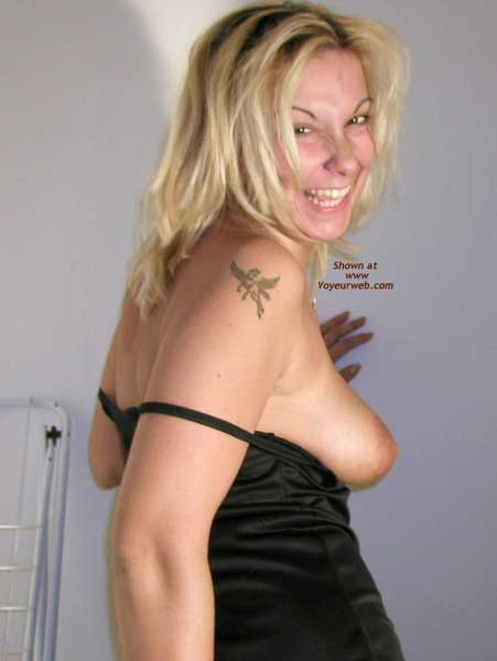 Black Nightie With Tit Exposed , Black Nightie With Tit Exposed, Tattoo On Shoulder With Tit Exposed, Big Smile On Blond With Tit Exposed, Black Silky Dress