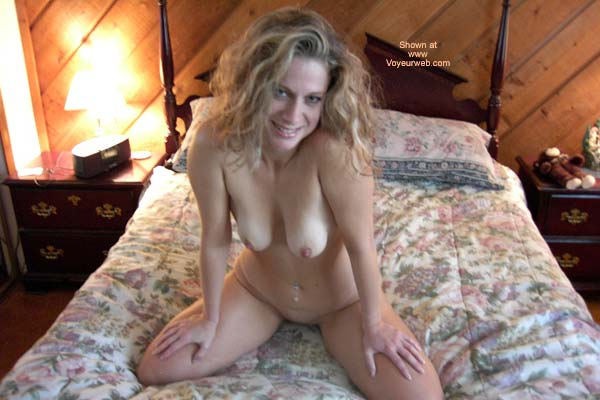 Fully Nude Girl - Blonde Hair, Smiling , Fully Nude Girl, Kneeling On Her Bed, Blonde Hair, Smiling