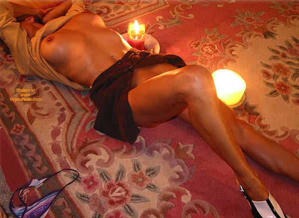 Lying On The Carpet - Big Nipples , Lying On The Carpet, Open Skirt, Big Nipples, Romantic Candle Shot
