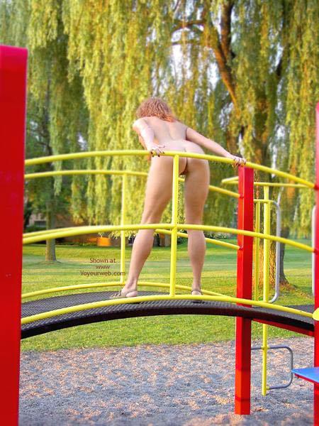 Women nude on playground 1
