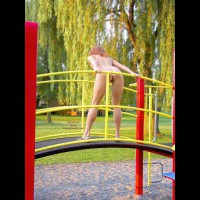 Playing Nude Outdoors - Nude Outdoors , Playing Nude Outdoors, Bending Over On Playground, Nude Playground