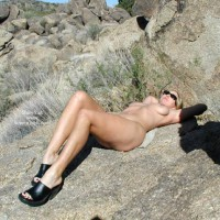 Naked Girl On A Rock - Lying Down, Sandals , Naked Girl On A Rock, Black Sandals, Sunbathing In The Mountains, Lying Down
