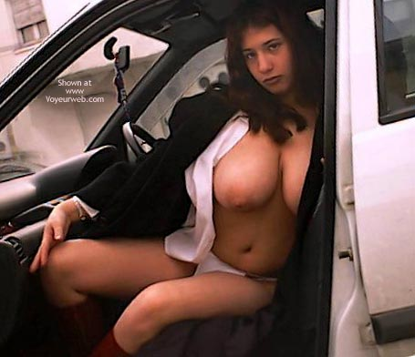 Topless Girl Sitting In A Car - Nude In Car , Topless Girl Sitting In A Car, Topless In Car, Curvy Tits, Very Huge Tits, Huge Areaolas, Round  Heavy Breasts