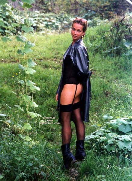 Girl Standing In Nature - Boots, Nude In Nature, Stockings , Girl Standing In Nature, Black Coat, Black Stockings, Black Boots
