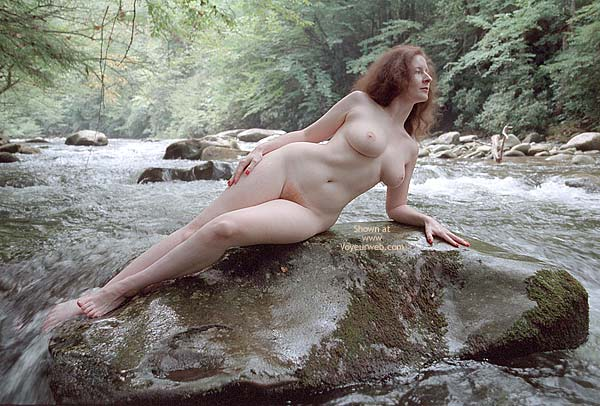 Nude Girl On A Rock - Pale Skin , Nude Girl On A Rock, Pale Skin, Naked In A Stream, Pale Areolae, Firm Medium-sized C-cup