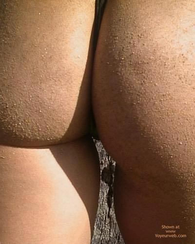Sand On Her Ass - Sexy Ass , Sand On Her Ass, Ass Closeup, Sandy Cheeks, Shadow On Ass, Thong Panties, Ass Cleavage