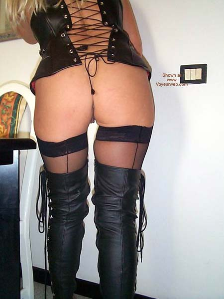 Pic #1 Leather Boots And Stockings For The Public To See
