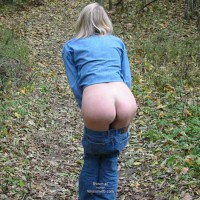 Blue Jeans Pulled Down - Bend Over , Blue Jeans Pulled Down, Outdoor Butts, Flashing Ass Outdoors, Bent Over, Lowered Levis, Nature