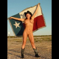 Nude In Cowboy Hat And Boots - Exposed In Public , Nude In Cowboy Hat And Boots, Brunette With Texas Flag, Exposed In Public