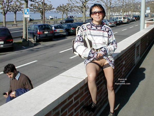 Flashing On A City Street - Sweater , Flashing On A City Street, Pussy Eip, Bald Pussy In Public On Wall, Short Haired Girl With Skirt Pulled Up, Sweater, Black Fishnet Stockings