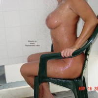 Torso On A Chair - Chair, Wet , Torso On A Chair, Seated Under Shower, Wet Tits, Wet Skin, Wet And Wild, Big Boobs In Patio Chair