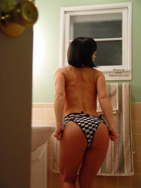 Undressing From Behind - From Behind, Sexy Ass , Undressing From Behind, Black And White Checkered Panties, Ass Shot