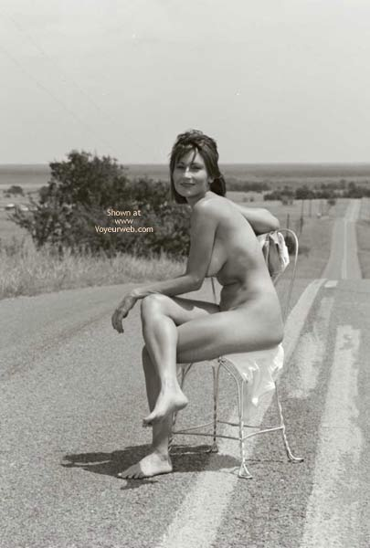 Nude Girl Sitting On A Road - Black And White, Full Nude , Nude Girl Sitting On A Road, Middle Of Road, Seat In Road, Black And White, Fully Naked