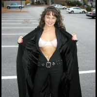 Flashing In Car Park - Looking At The Camera, Sexy Body , Flashing In Car Park, Dressed In Black, Showing Bra, Smiling At Camera, Long Red Fingernails, Tight Body
