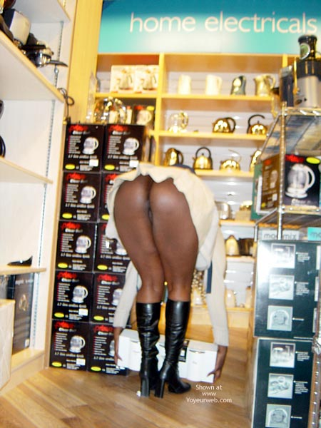 Black Boots And Booty - Bend Over, Boots, Upskirt , Black Boots And Booty, Black Girl Shopping, Bending Over, Ass Flash, Black Boots, Upskirt