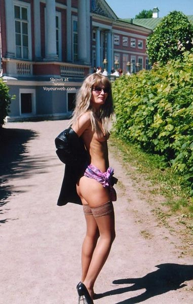 Partly Nude Outdoors - Nude Outdoors , Partly Nude Outdoors, Stockings And Black Heels, Bare Breasts, Bareing Herself Outdoors