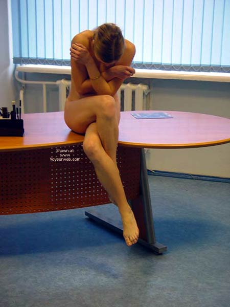 In The Office , In The Office, Nude On Desk, Yoga Pose